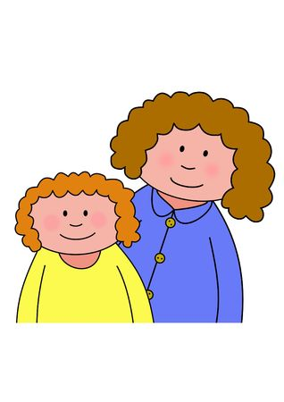older: Illustration of a cartoon mother and child or two sisters  friends