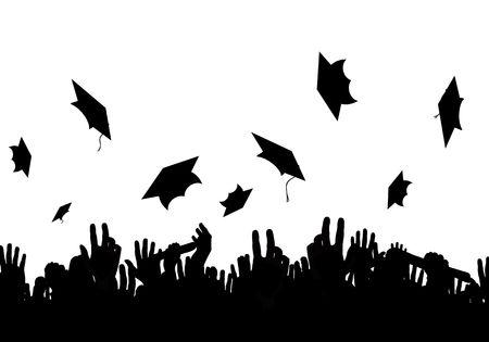 gente celebrando: Ilustraci�n de una multitud de graduados