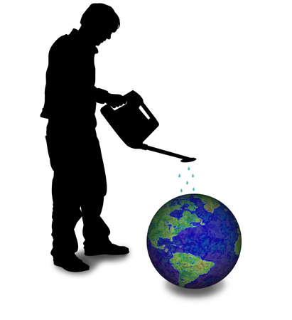 overheating: Illustration of person using a watering can over the earth Stock Photo