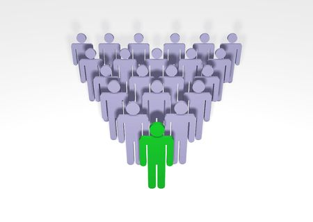 representatives: Illustrated People with  The one at the front colored green Stock Photo