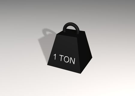 ton: Illustrated 3d one ton weight
