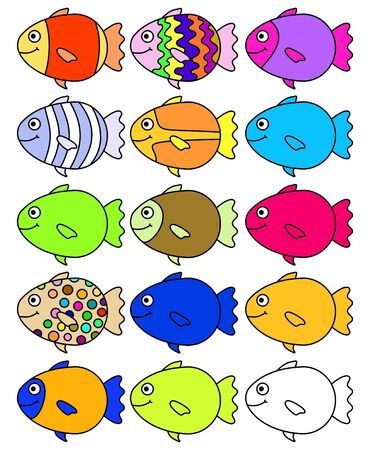 Illustration of 15 colorful fish, one is left for you to color yourself Stock Illustration - 2206063