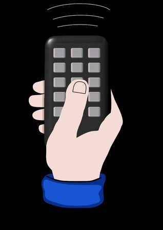 Illustration of a hand holding a remote control illustration