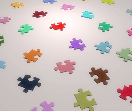 Illustration of jigsaw pieces of different colors Stock Illustration - 2206047