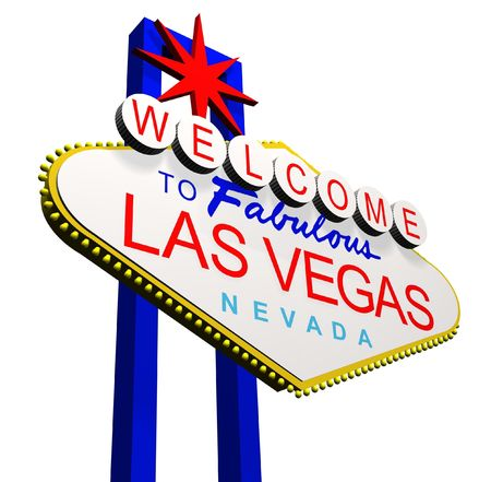 las vegas lights: 3D render of the Welcome to fabulous Las Vegas Nevada sign Stock Photo