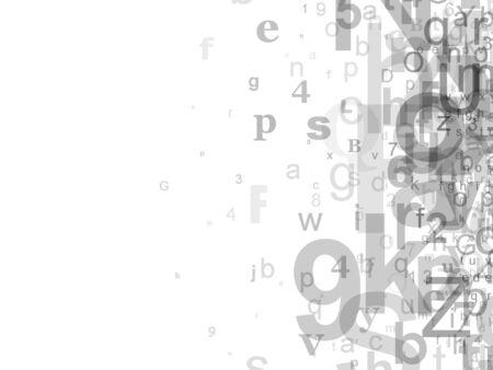 numbers abstract: Letras y n�meros que se descoloran de derecho