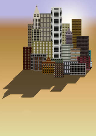populated: Illustration of a distant city located in a desert