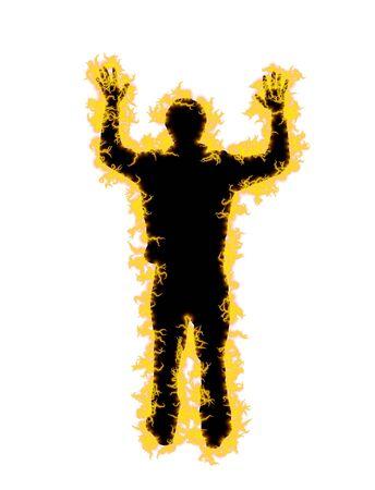bloke: Illustrato uomo coperto di energia elettrica