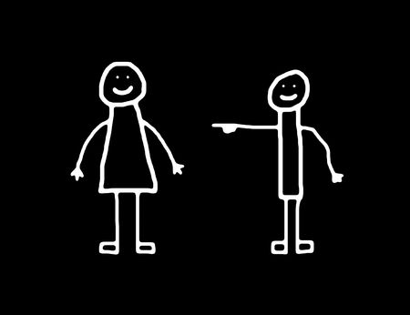 Man or boy pointing at woman or girl