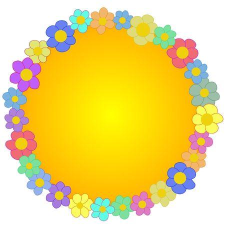 Round Flower frame Stock Photo