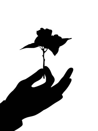 Illustrated hand presenting a flower photo
