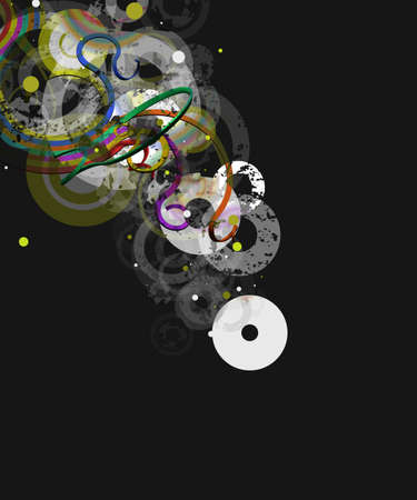dissolving: Colorful retro grunge illustration over a dark gray background