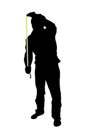 bloke: Silhouette di utilizzare l'uomo misura di nastro
