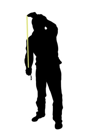 Silhouette of man using tape measure Stock Photo - 2450100