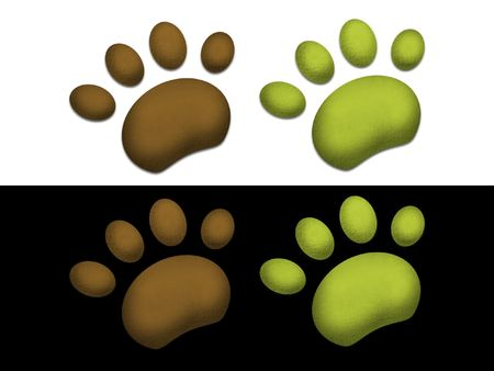 Green and brown paws on black background and white background