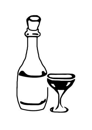 Black and white bottle and glass illustration Stock Illustration - 2450112