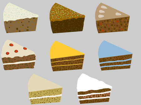 illustration of eight slices of cake