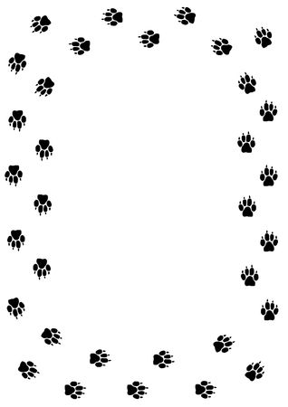 Frame made of dogmammal paw prints Stock Photo