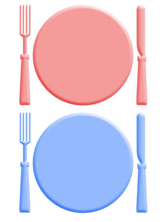starvation: Illustration of two plates, knives and forks