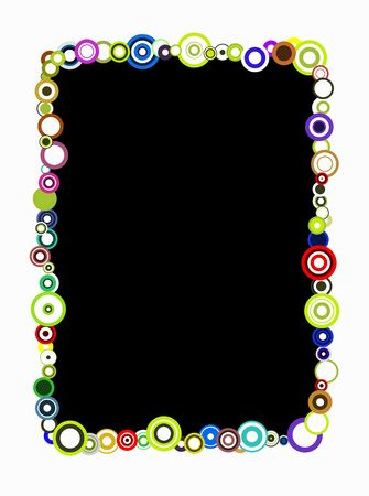 black frame with colorful retro circles over a white background