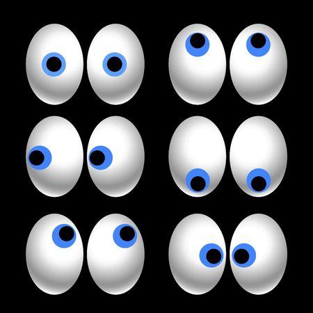 occhi grandi: sei paia di cartone sguardo rivolto in varie direzioni