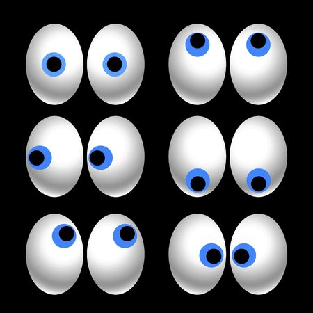 big eye: six pairs of cartoon eyes looking in different directions Stock Photo
