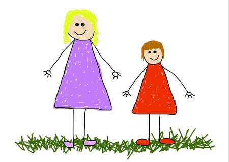 older woman smiling: Illustration of childlike drawing of a child and mother or child and older sisterauntfriend Stock Photo