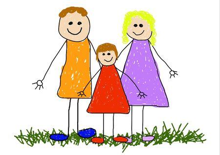 Childlike illustration of a family Stock Illustration - 2470282