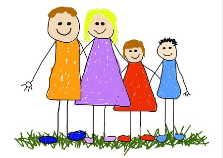 Childlike illustrated of a happy family Stock Photo - 2470286