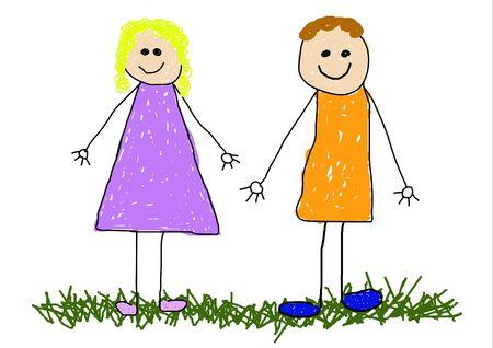 Ilustraci�n infantil de dibujo de un pap� y mam� y hermano y hermana / amigos  Foto de archivo - 2470281
