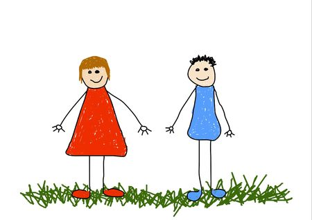 Illustration of childlike drawing of a brother and sister/friends Stock Illustration - 2470276