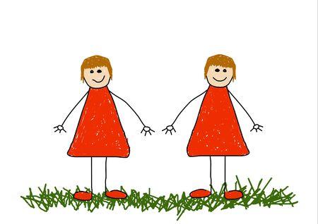 Childlike illustration of twin sisters Stock Illustration - 2470277
