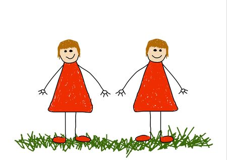 Childlike illustration of twin sisters Stock Illustration - 2470277