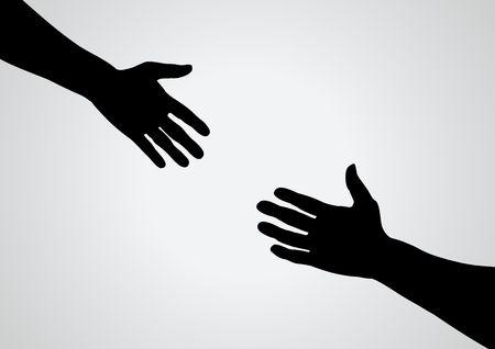 caring hands: Illustratie van een hand te bereiken voor een ander
