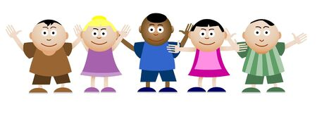 5 people: Illustration of group of kids