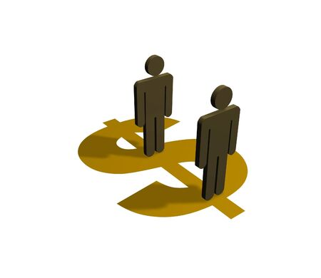 equal opportunity: Illustration of people standing on a dollar symbol
