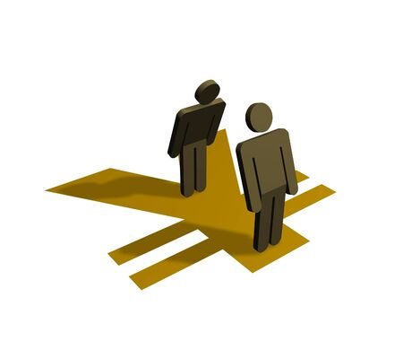 equal opportunity: Illustration of people standing on a yen symbol Stock Photo