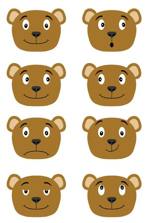 illustration of teddy bears heads pulling different facial expressions