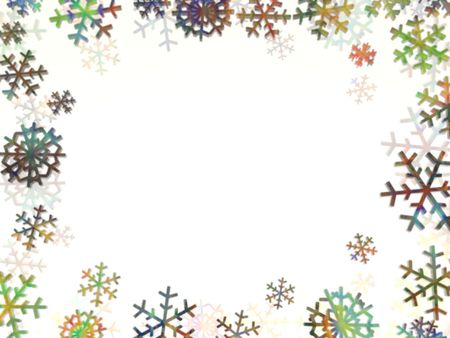 multi coloured frame made of snowflakes photo