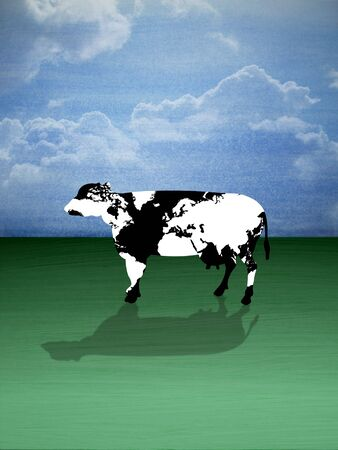 Illustration of a cow with the world map as its texture illustration