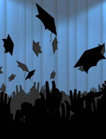 Illustration of a crowd of graduates with a blue curtain in the background Stock Illustration - 2495321
