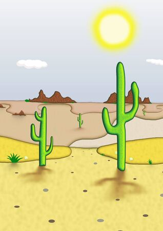 arid: Illustration of a desert scene Stock Photo