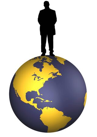 domination: Illustration of a silhouette man standing on the earth