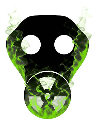 gas masks: Illustration of a gas mask with the toxic symbol displayed on the filter and covered in green smoke