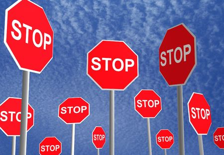 attention sign: 3D rendered stop signs over a sky background