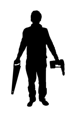 electric drill: Silhouette of man holding tools.