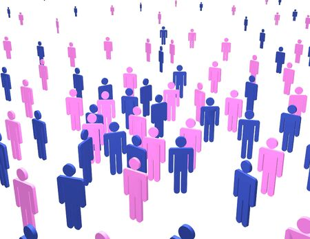 genders: Illustration of  lots of people of male and female genders