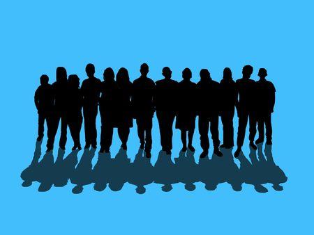 montaje: Ilustraci�n de una multitud de personas de m�s de un fondo azul con la sombra cayente  Foto de archivo