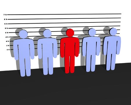 Line up of people, the red one is guilty Stock Photo