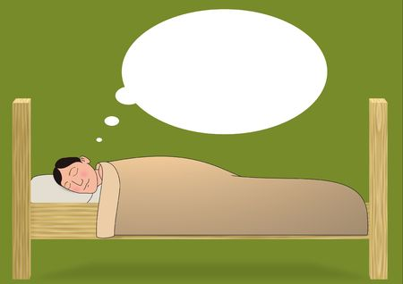 asleep: Illustration of a person asleep in bed with dream bubbles floating above them